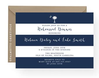 South Carolina Palmetto Moon Invitation, Engagement, Rehearsal Dinner, Birthday, Anniversary Party,  Lowcountry Boil by Palmetto Greetings