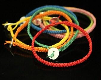 Wax cords handmade bracelet with Karen silver