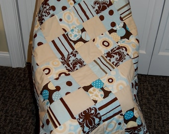 SALE, Lap Quilt, Baby Boy Quilt, Modern Prints, Hand Quilted