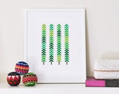 Art print   Modern Trees   Geometric Patterned Forest   Holiday art   Green