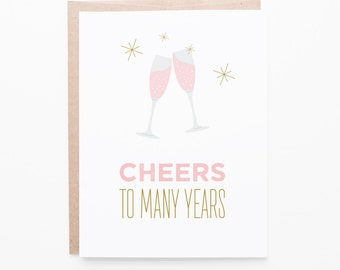 Cheers to Many Years Wedding Greeting Card | Engagement, Couples, Marriage, Rose, Pink Champagne