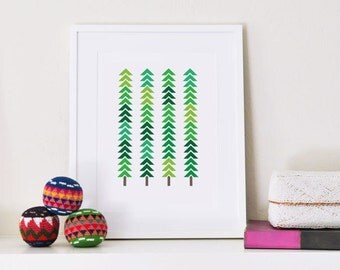Art print | Modern Trees | Geometric Patterned Forest | Holiday art | Green