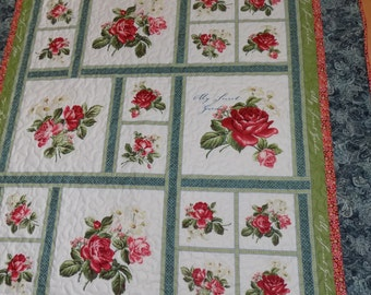 Roses' Lap Quilt Handmade Red and Cream  55 x 75