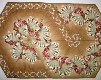 Floral Table Runner, quilted, table linens, fabric from Maywood
