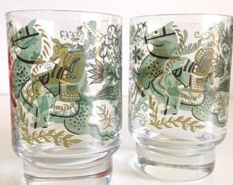 Midcentury Equestrian Glasses