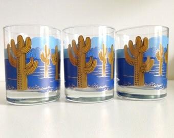 Couroc Blue Gold Cactus Low Ball Glasses
