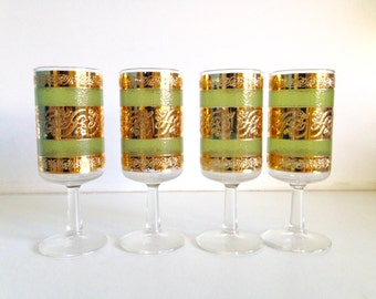 Mid-Century Gold and Green Glassware