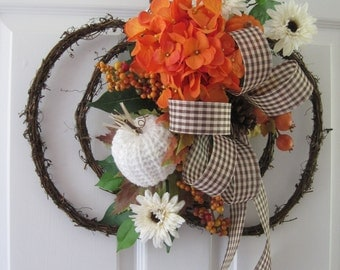 Pumpkin Wreath, Orange Hydrangea, Halloween Decoration, Autumn Wreath, Front Door Wreath, Grapevine Pumpkin, Fall Wreath, Gift Wreath