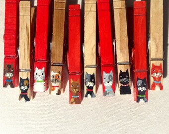 CAT CLOTHESPINS painted red and wood magnetic pegs veterinarian gift cat sitter party favor