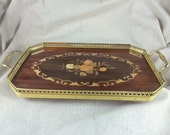 Vintage Italian Inlaid Wood Tray