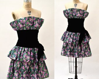 80s Prom Dress size Small Black Velvet and Floral Print// Vintage 80s Strapless Party Dress Size Small Meidum Floral Print
