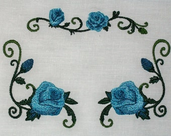 Blue Rose floral Embroidered Quilt Label to customize with your personal message
