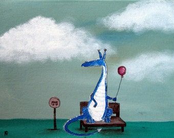 Going Home Dragon with Balloon, Bus Stop, Art Print, Kids Wall Art Nursery Decor, Whimsical Storybook Children's Art, Cute Creatures, Blue