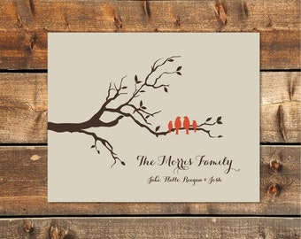 Personalized Family Tree Print, Gift for Mom, Family Tree Wall Art, Gift for Parents, Family Tree Wall Art, Love Birds Print 11 x 14