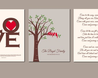 Family Tree Print 1 Corinthians 13 Anniversary Gift Personalized Wedding Song Lyric Art Wedding Vow Scripture Art Personalized Set 3 11x14s