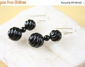Christmas in July Black Onyx Carved Spiral Design Gemstone 925 sterling silver french wire hooks