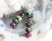 Ruby Zoisite Gemstone Earrings on 925 Sterling Silver Ear Wires