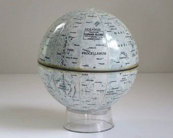 Vintage  Moon Globe, Mini 4 inch Lunar Globe, Worlds Unlimited Replogle Mars Miniature Globe, Planet Globes Gifts Him Office Den Decor