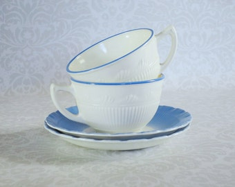 Vintage Tea Cup and Saucer  /  Milk Glass Teacup and Saucer  /  Vintage Macbeth Evans Corning Tea Cup Set Cup Set with Blue Trim
