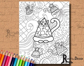 INSTANT DOWNLOAD Coloring Pizza Cats Art Coloring Page/ Print, doodle art, printable