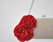 LINEN and RED - Bridal Clutch - Bridesmaid Clutch - Wedding clutch - Large clutch- You choose the color