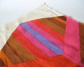 Unique cream linen like large mod graphic stripe zig zag chevron vintage upholstery fabric pink brown purple orange material