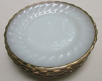 6 Fire King Dessert Plates - White with Gold Trim - 7 1/4 Inches - Anchor Hocking - 2 Sets of 6 Each Available - Vintage - NC