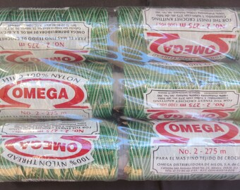 Six Spools of Omega Hilo 100% Nylon Thread - Number 40 Var Green