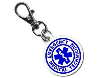 Blue EMT Emergency Medical Technician Symbol Fire Rescue Heroes Aluminum Dog Tag (Choose Size)
