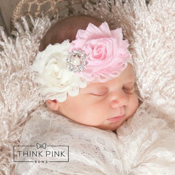 Baby headband, Flower Headband,Shabby Chic Headband,Baby girl Headband,Newborn Headband,Girls headbands,Baby bows, Pink baby headband.