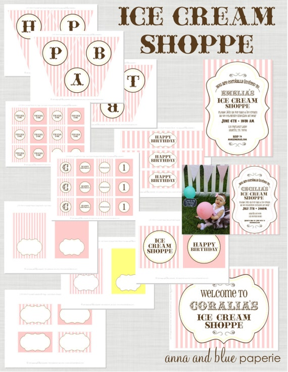 Ice Cream Shop Birthday Party - Full Printable Party Collection - anna and blue paperie