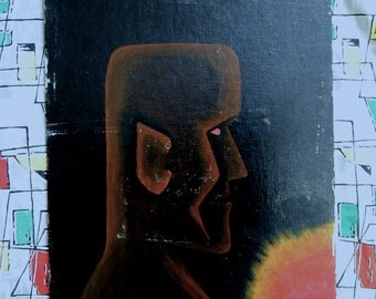 Large vintage 60's Moai Tiki signed oil painting on canvas board atomic Tiki bar Easter Island sun black brown red yellow modern art MCM