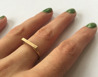 Minimalist Brass Bar Stacking ring