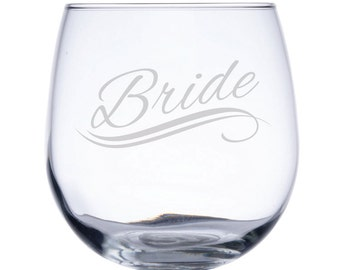 Stemless Red Wine Glass-17 oz.-7731 Bride