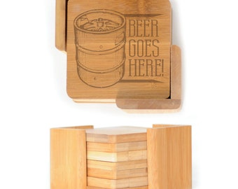 Wooden Square Coasters - Set of 6 with holder - 2556 Beer Goes Here