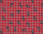 Scottie Dog on Red  A87.2 - THE GLEN - Lewis and Irene - By the Yard