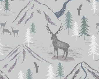 Royal Stag on Light Grey  A86.1 - THE GLEN - Lewis and Irene - By the Yard