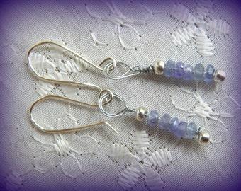 Tanzanite Bar Earrings, Tiny Tanzanite Earrings, Delicate Earrings, Silver and Tanzanite Dangles, Dainty Jewelry, Purple Earrings
