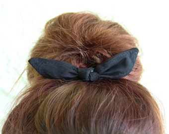 Knotted Bun Clip Hair Bows Black Solid Color Hair Bow Girl Teen Women Hair Accessory French Barrette Alligator Clip Hair Ties