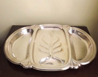 Turkey Tray, 3 Compartment Tree of Life Meat Tray, Meat Serving Platters, Thanksgiving Serving Dishes Vintage Silver Plate
