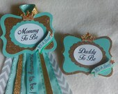 Mommy to Be SET, It's a Boy, Prince, Lt. Turquoise, Gold, Corsage Pin, Baby Shower, Maternity sash flower