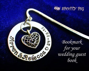 Personalised Guest Book Bookmark, Wedding Date + Bride & Groom's Names Hand Stamped