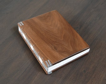 Rustic Wood Guest Book Wedding Cabin Guestbook or Journal Black Walnut Wood Unique anniversary gift custom memorial book - made to order