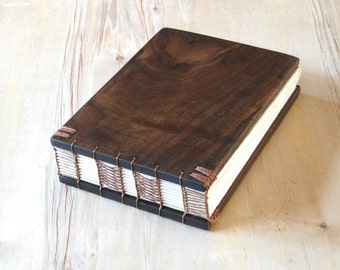 Wood Wedding Guest Book or Unique Journal Black Walnut Wood Cabin Guestbook anniversary book lover gift custom memorial book - ready to ship