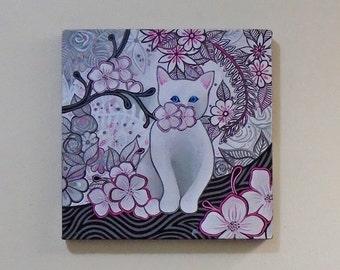 """Original Acylic Painting #11015, """"White Kitten"""" 2015"""