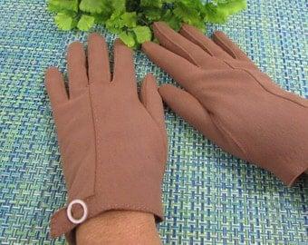 """Vintage HANSEN Brown Pig Nylon Gloves with """"Buckle"""" Detail, Women's Gloves, Costume Gloves, Cotton Gloves, Size 7 1/2"""