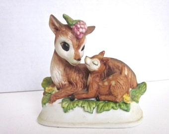 Deer Fawn Figurine Woodland Forest Collectible Enesco Porcelain Mama and Baby Grapes Knicknacks Hand Painted 1970s