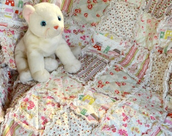 Babies Linen and Cotton Shabby Chic Rag Quilt, Crib Size, French Flea Market