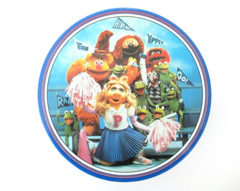 Vintage 1980s The Muppets Cookie Tin // Miss Piggy // Kermit the Frog // Gonzo // Gift Tin // Collectible // School Spirit // Cheerleading