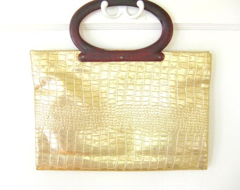 Vintage 1960s Mid Century Ladies Pride Gold Convertible Tote // Clutch // Purse // Bag